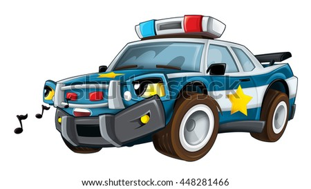 Cartoon police car whistling and waiting - isolated - illustration for the children