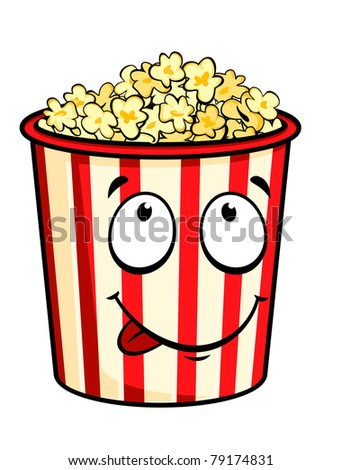 Cartoon popcorn isolated on white for fastfood design. Vector version also available in gallery - stock photo