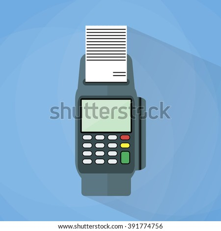 cartoon pos payment terminal. Illustration in flat design on blue background with long shadow