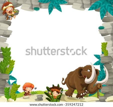 Cartoon prehistoric frame - illustration for the children - stock photo