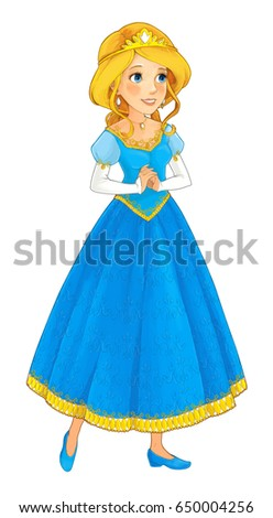cartoon princess character - smiling and beautiful woman / illustration for children