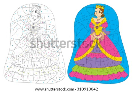 Cartoon princess - coloring page - illustration for the children - stock photo