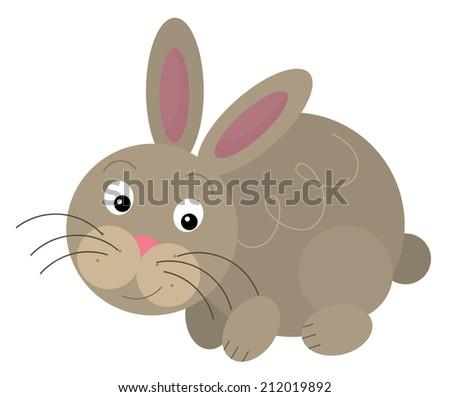 Cartoon rabbit - illustration for the children - stock photo