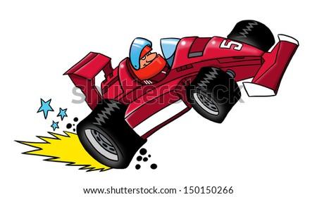 Cartoon race car - stock photo