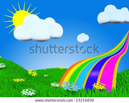Cartoon rainbow picture witn grass, sun and clouds