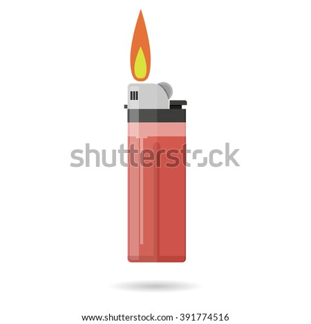 Cartoon red pocket lighter with fire. Lighter icon. Burning lighter. Modern fuel lighter. illustration in flat design isolated on white background