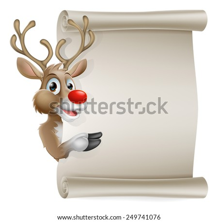 Cartoon reindeer scroll sign of Christmas reindeer pointing at a scroll banner - stock photo