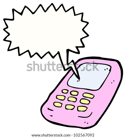 cartoon ringing mobile phone - stock photo