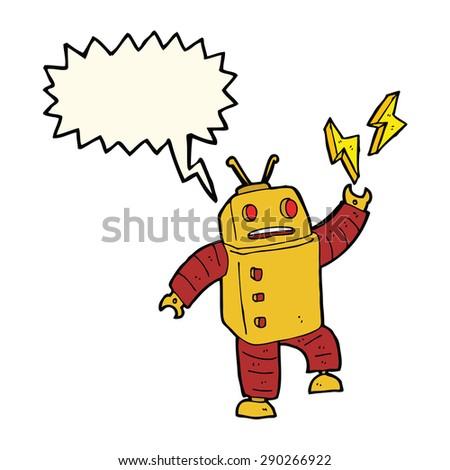cartoon robot with speech bubble - stock photo