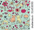 Cartoon romantic seamless pattern with kids, cats, birds and so on - stock photo