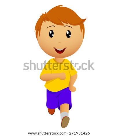 Cartoon running man in yellow t-shirt on a white background - stock photo