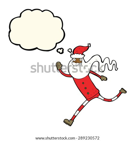 cartoon running santa with thought bubble