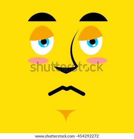 Cartoon sad face on yellow background. Sadness emotion. Pessimistic personality. Pitiful face. Mournful pathetic character - stock photo