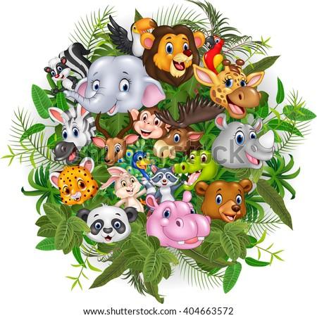 Cartoon safari animals - stock photo