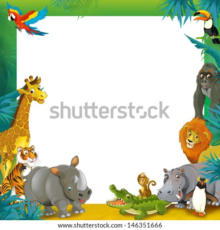 Cartoon safari - jungle - frame border template - illustration for the children - stock photo