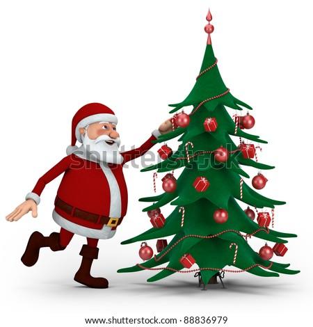 Cartoon Santa Claus decorating Christmas Tree - high quality 3d illustration - stock photo