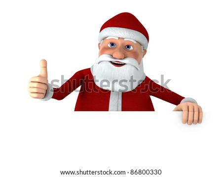 Cartoon Santa Claus giving thumbs up from behind a blank sign - high quality 3d illustration