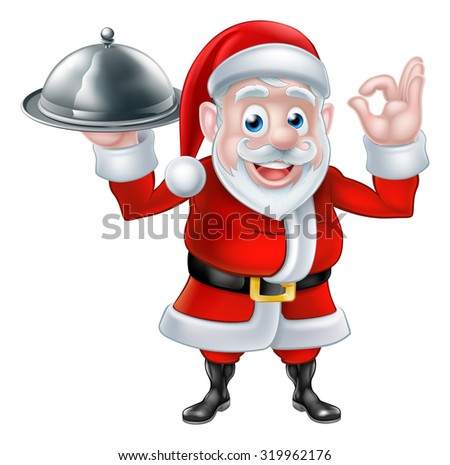 Cartoon Santa Claus holding a plate of food or silver platter cloche and giving a perfect or okay hand gesture - stock photo