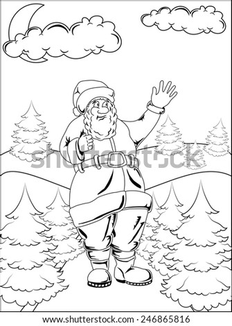 Cartoon Santa Claus is in winter forest