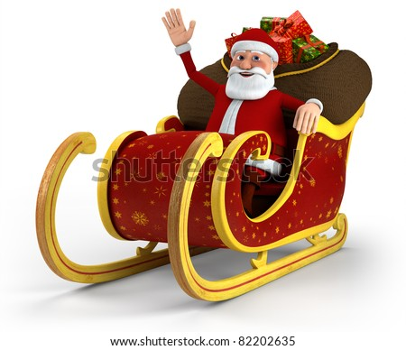 Cartoon Santa Claus sitting in his sleigh and waving - on white background - high quality 3d illustration - stock photo