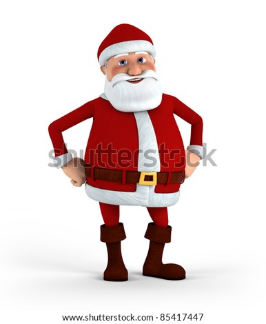 Cartoon Santa Claus standing with hands to his hips - high quality 3d illustration