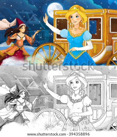 Cartoon scene for different fairy tales - young girl beautifully dressed going to some ball - with additional coloring page - illustration for children - stock photo