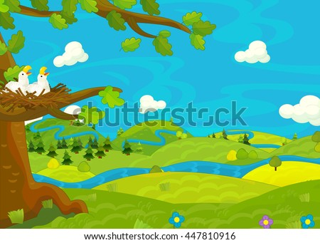 Cartoon scene for different usage - meadow with stream - book or game - illustration for children