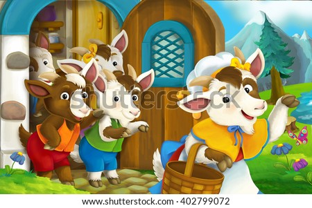 Cartoon scene mother is waving for goodbye and her children are standing near the door - illustration for the children - stock photo