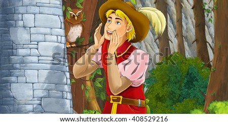 Cartoon scene of a nobleman shouting standing near rocky wall - illustration for children - stock photo