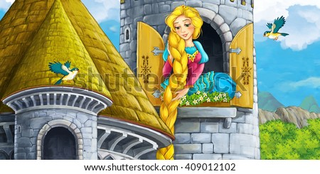 Cartoon scene of a princess - girl - sitting in the window - illustration for children - stock photo