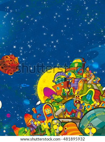 Cartoon scene of cosmos city - nobody on the stage - ufo - illustration for children