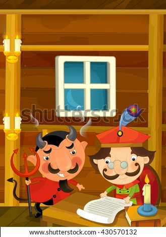 Cartoon scene of devil encouraging nobleman to sign some paper - illustration for the children