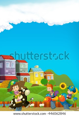 Cartoon scene of kids playing in the playground - illustration for children - stock photo