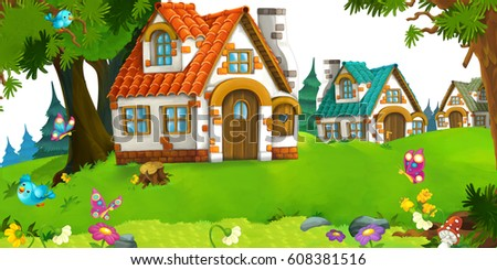 cartoon scene of traditional house near the forest