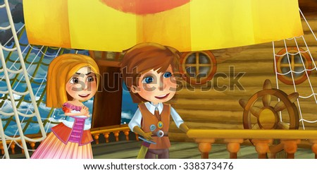 Cartoon scene on the ship - prince with his guest - illustration for the children - stock photo