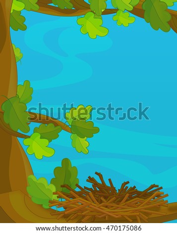 Cartoon scene with empty nest - illustration for children