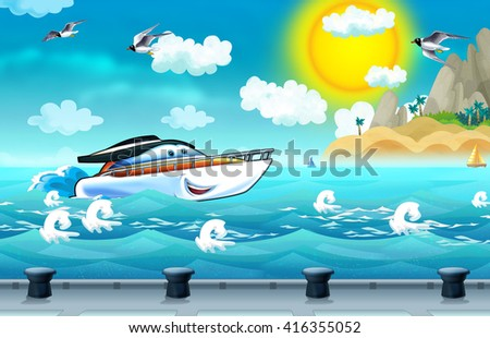Cartoon scene with motorboat is going into the port - illustration for children