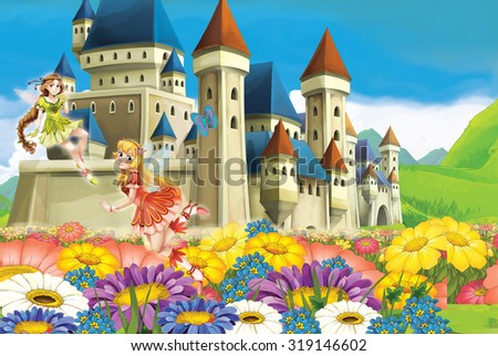Cartoon scene with princess and fairies - stock photo