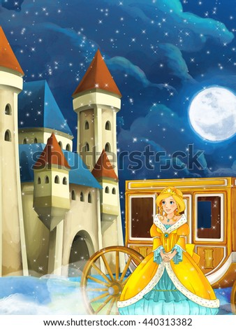 Cartoon scene with princess or queen - image for some fairy tale - beautiful castle and carriage in the background - illustration for children - stock photo
