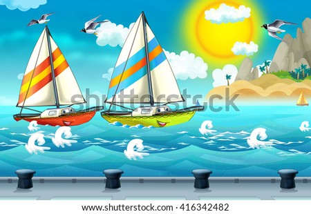 Cartoon scene with sailboat sailing into the port - illustration for children - stock photo