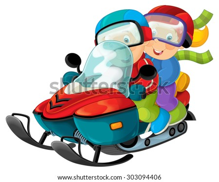 Cartoon scooter with boy and girl - illustration for the children