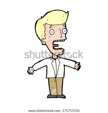 cartoon screaming man - stock photo