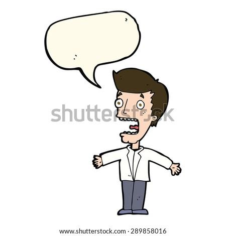 cartoon screaming man with speech bubble - stock photo
