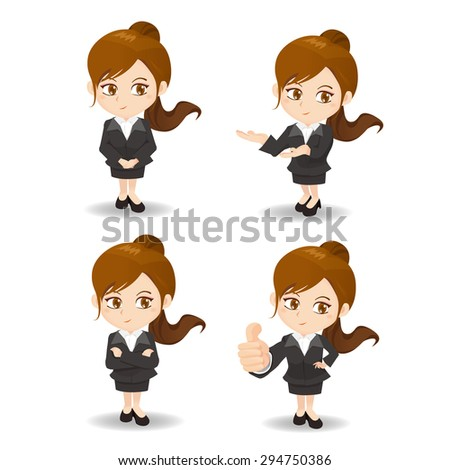 cartoon set of Business woman in different poses. - stock photo