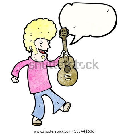 cartoon sixties guitar player