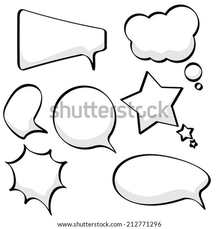 Cartoon sketchy speech and thought bubbles isolated on white background. - stock photo