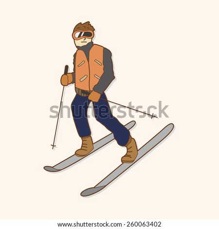 cartoon ski stock illustration 260063402 - shutterstock