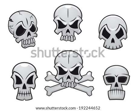 Cartoon skulls set for scary, halloween or another danger concept design. Vector version also available in gallery - stock photo