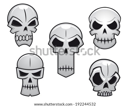 Cartoon skulls set with danger emotions for halloween holiday design. Vector version also available in gallery - stock photo