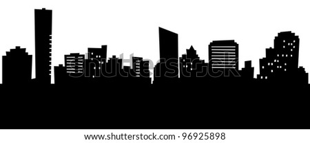 Cartoon skyline silhouette of the city of Grand Rapids, Michigan, USA.